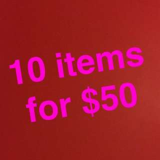 Purchase 10 items under $15 for $50!!!