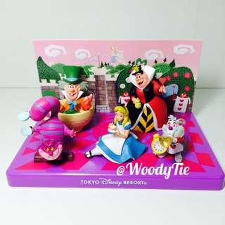 迪士尼樂園 愛麗絲 紅心皇后 瘋帽 時間兔 妙妙貓 盒裝公仔 玩具 絕版