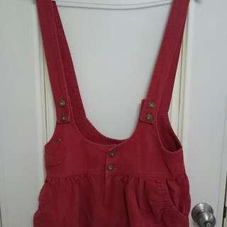橘紅色 吊帶群裙