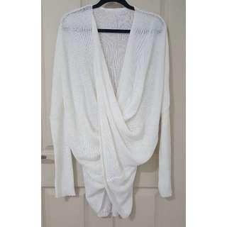 Boohoo White Wrap Knit