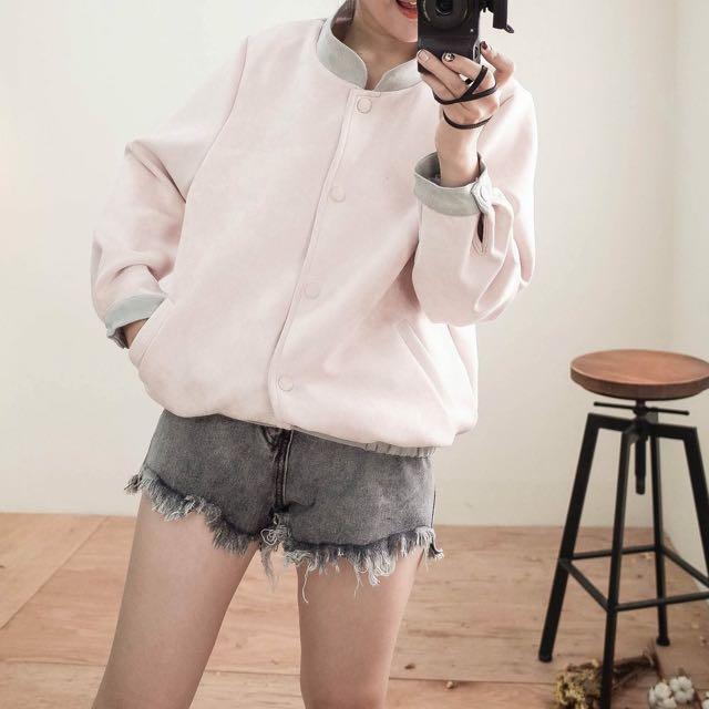 粉色麂皮外套