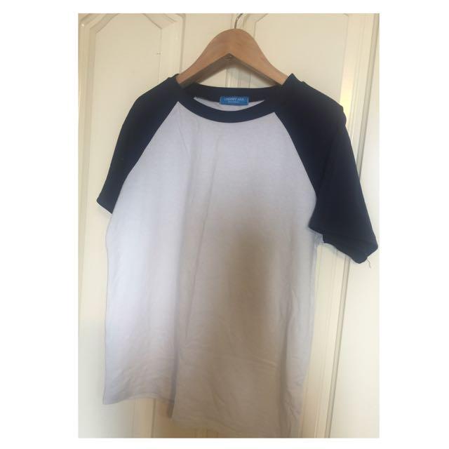 韓製 基本款深藍棒球T短袖上衣