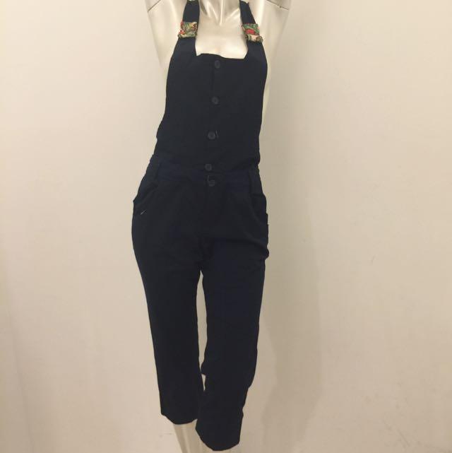 全新專櫃品牌a la sha 深藍連身吊帶褲