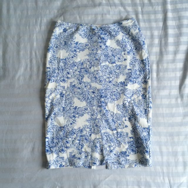American Apparel Blue And White Stretch Skirt