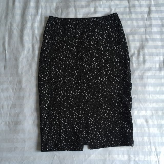 American Apparel Spotted Stretch Pin Drop Skirt