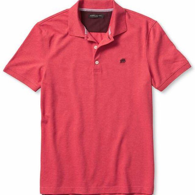 c7379d6d Banana Republic Men M Size Red Heather Signature Pique Polo T-Shirt ...