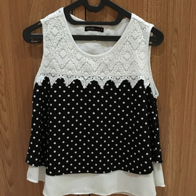 Black and White Polkadot Loose Top
