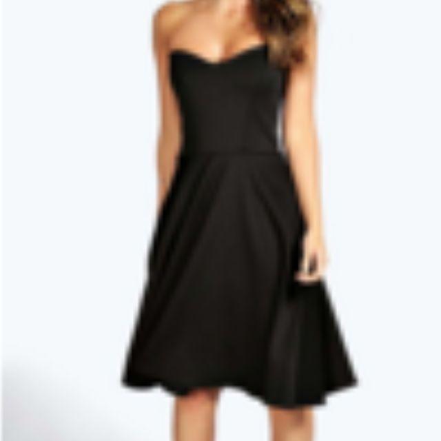 BooHoo Black Strapless Dress