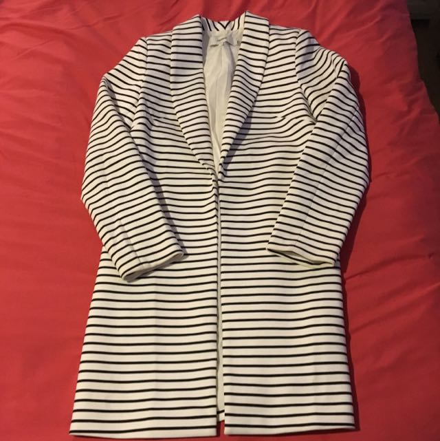 Cameo B&W Striped Coat