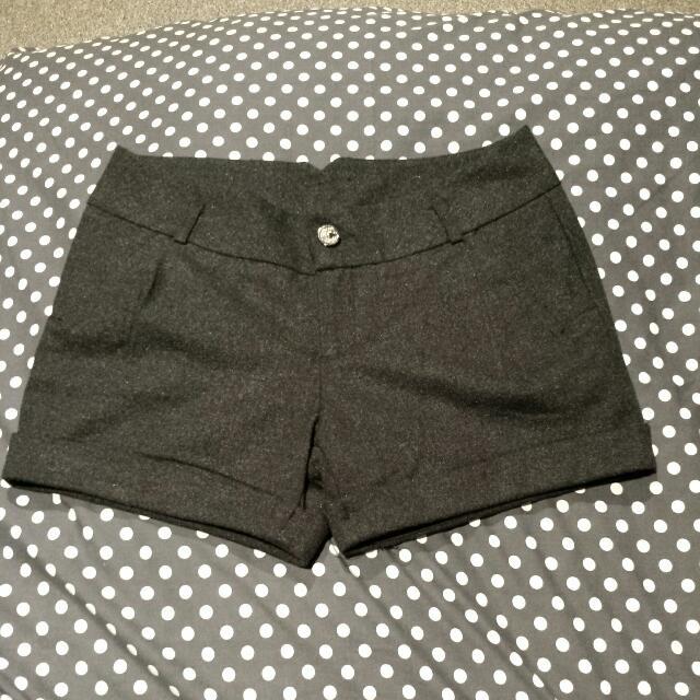 Dark Grey Winter Woolen Shorts 10