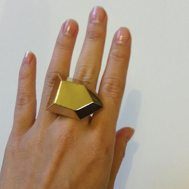 Gold Geometric Statement Ring