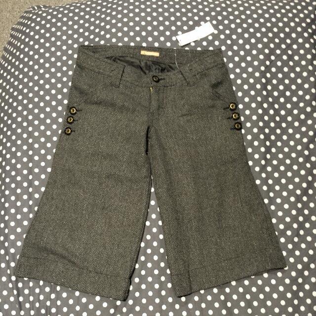Grey Woolen Winter wide Leg Shorts