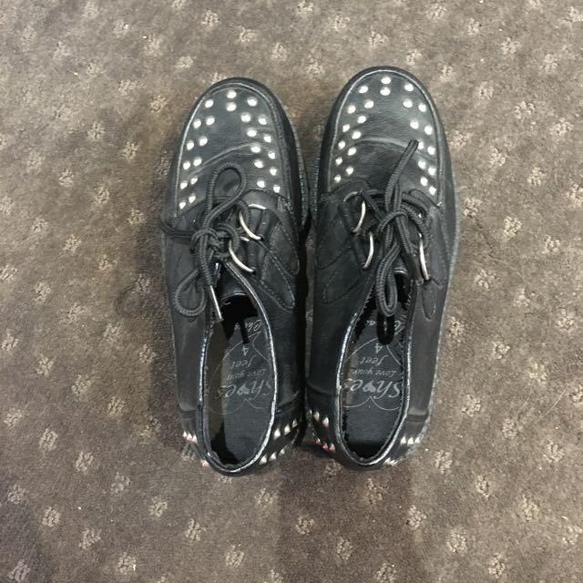 Leather Studed Platform Shoes