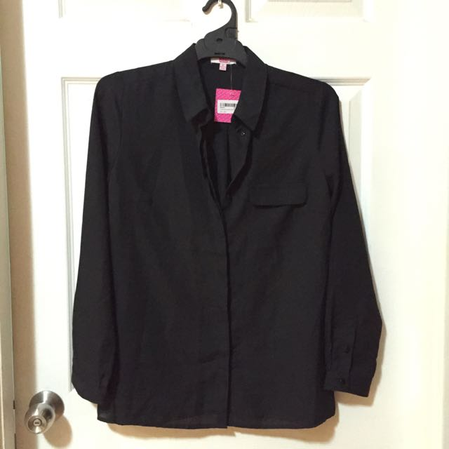 Long Sleeve Black Shirt Semi Sheer