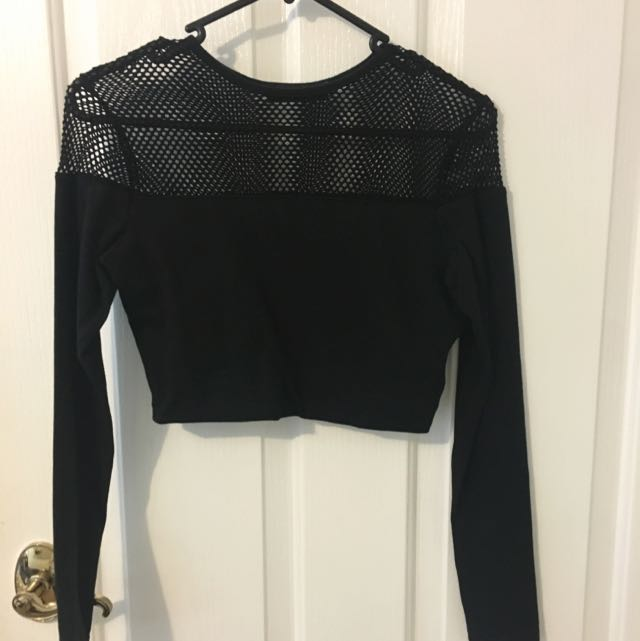 Missguided Black Long sleeve Crop