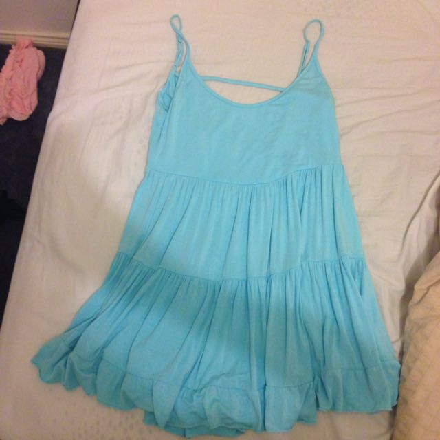 Mooloolaba Aqua Beach Dress With Cut Out Back 10