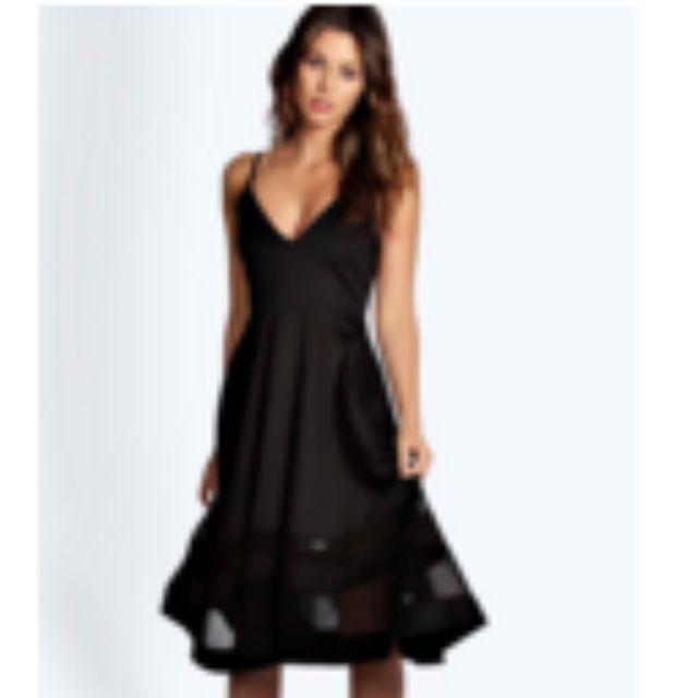 BooHoo Strappy Dress Black Mesh