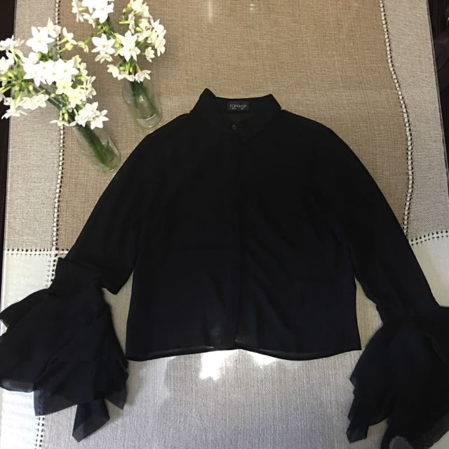 Topshop Sheer Long Sleeves Black Blouse