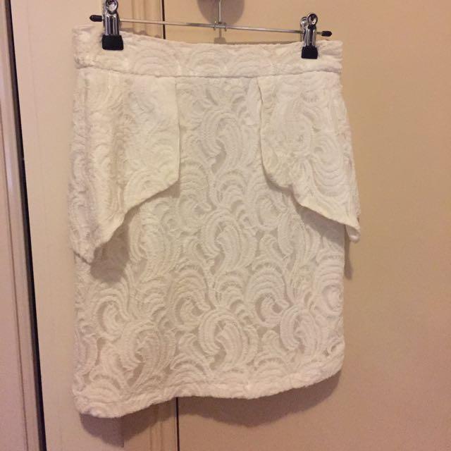 White Lace High Waist Skirt