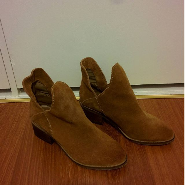 Zara Trafaluc Tan Suede Ankle Boots Size 37 (EUR)