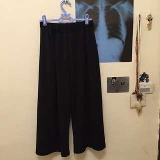 黑色鬆緊寬褲
