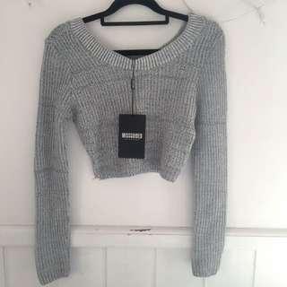 Cropped Grey Knit Jumper
