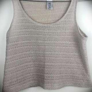 Off White Crochet Style Crop