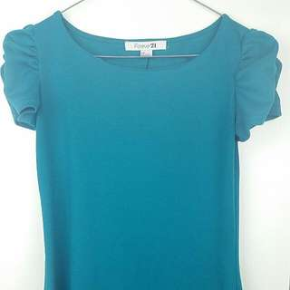 Teal Short Dress/tunic With Ruched Sleeves