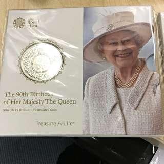 英女皇 90大壽 普鑄紀念銀幣