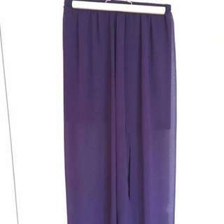 Purple Maxi Skirt With Side Slit