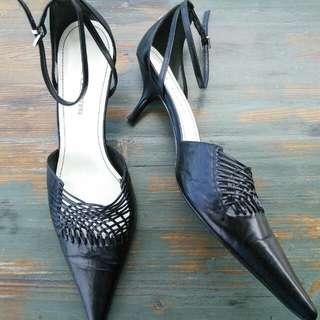 Jane Debster Black Leather Upper High Heels