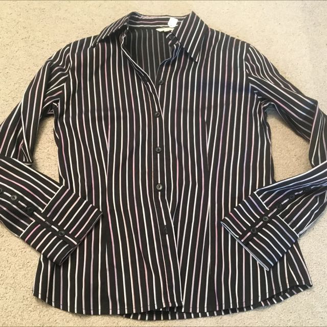 11/M Women's Long Sleeve W Cuff Fitted Pinstripe G2000 Brand New Shirt
