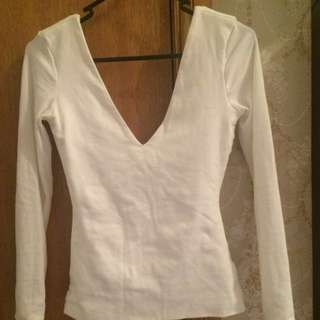 Kookai V Neck White Top