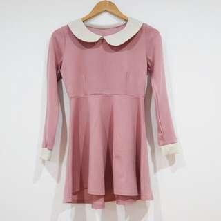 Lovely Pink Collar Dress