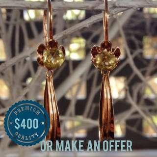 Genuine 14ct Rose Gold Vintage Handmade Earrings