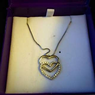 Gold mark Sterling Sliver Double Heart Necklac