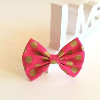 Hair Clip - Hot Pink With Gold Polka Dots