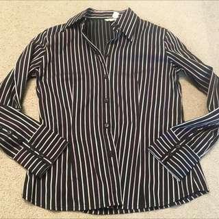 11/M Women's Long Sleeve W Cuff Fitted Pinstripe G2000 Brand New Shirt