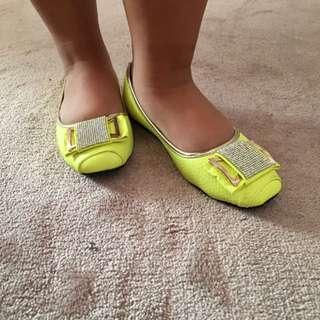 Yellow Green Flat Shoes