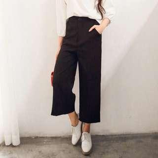 褲子/SuperC/高腰純黑寬褲 #029045