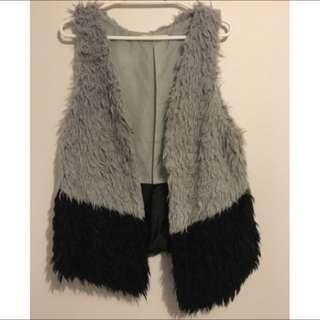 Black And Grey Fluffy Vest