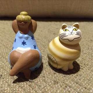 海洋堂北歐陶藝插畫家Lisa Larson 貓咪與人偶扭蛋