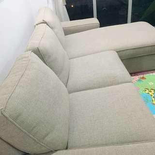 Pre-loved Ikea Kivik Sofa and Chaise Lounge in Isunda Beige- Reserved