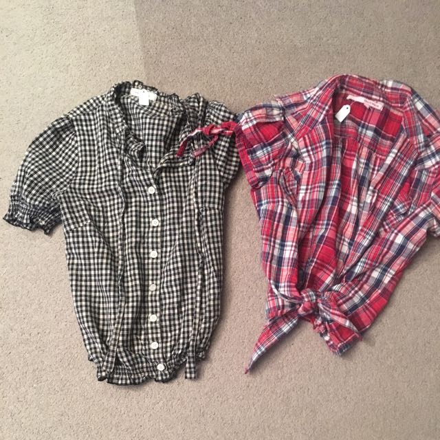 2 XS Cropped Checked Women's Shirts Summer Casual/day Wear