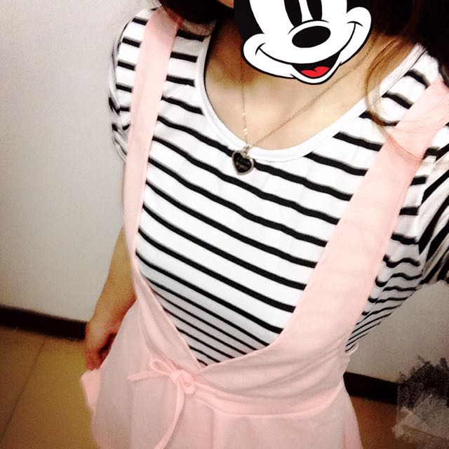 假兩件式條紋甜美女孩連身裙