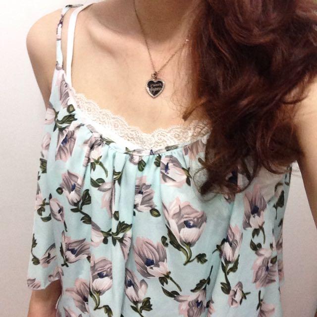 夏日精選-花瓣雪紡日系蒂芬妮綠連身褲