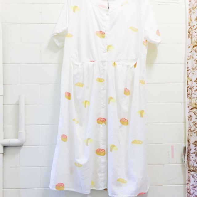 有口袋古著感可愛壽司洋裝