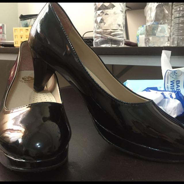 黑色 微跟高跟鞋 25號