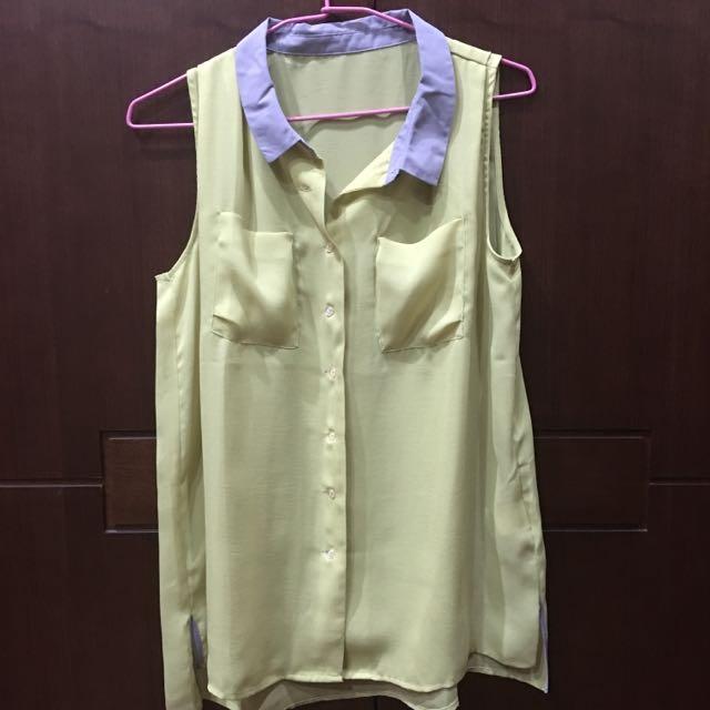全新 無袖雪紡襯衫 芥末黃綠