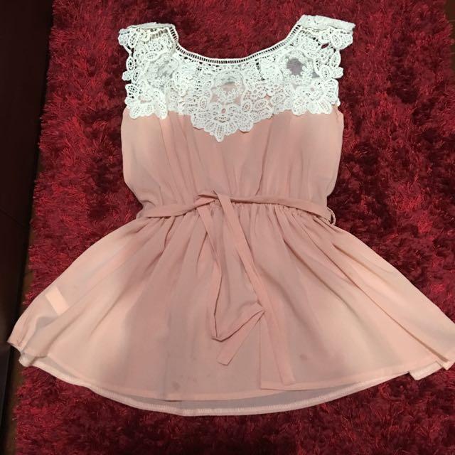 全新 雪紡紗 粉色 蕾絲